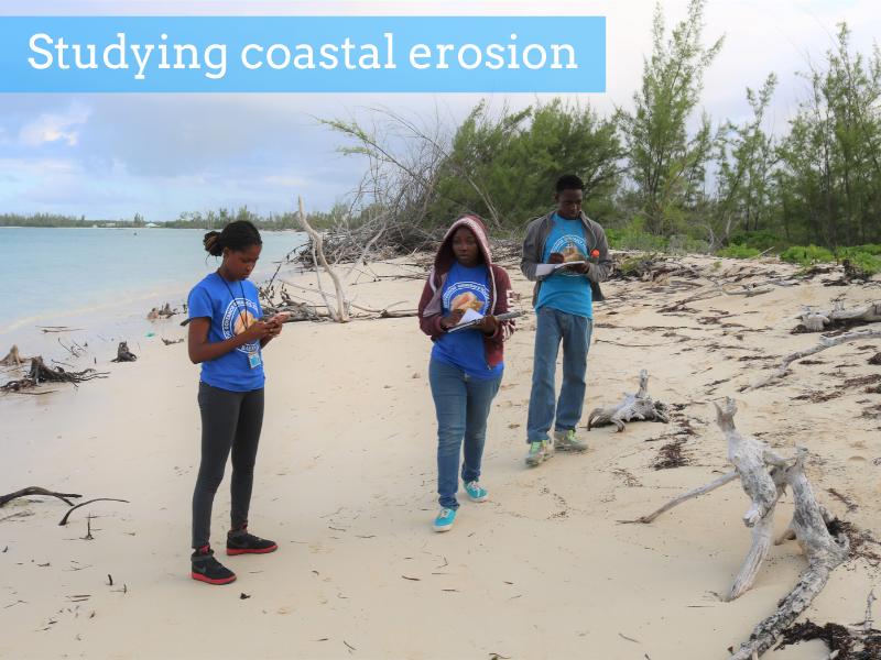 Studying coastal erosion.
